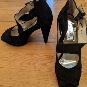 Michael Kors Michelle black suede pumps